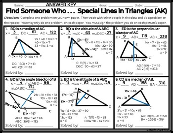 Geometry - Find Someone Who . . . Special Lines in Triangles