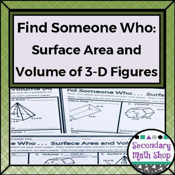 Geometry - Find Someone Who . . . Surface Area and Volume (Two Levels!)