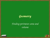 Geometry - Finding area, perimeter and volume lesson presentation