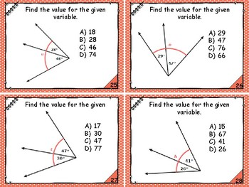 Geometry - Finding the Measure of Adjacent, or Missing, Angles