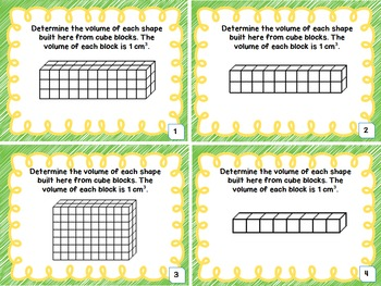 Geometry and Measurement - Finding volume with centimeter cubes task cards