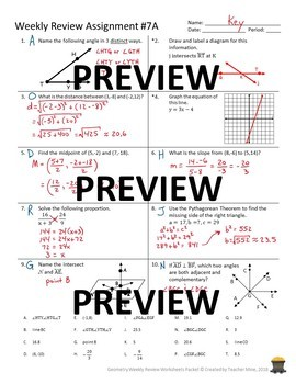 Geometry 1st Quarter Weekly Review