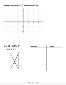 Geometry - First Semester Final Exam (Plus Logic and Constructions)