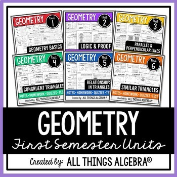 Geometry (First Semester) Notes, Homework, Quizzes, Tests