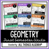 Geometry First Semester - Notes, Homework, Quizzes, Tests Bundle