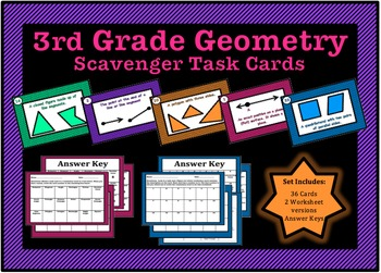 Geometry Task Cards For Third Grade