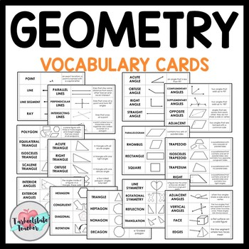 Geometry Vocabulary Games and Study Cards