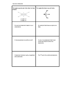 Geometry Flashcards - Math Review