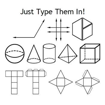 Geometry Fonts - Angles, Shapes, Nets & Pattern Blocks