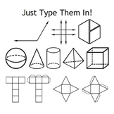 Geometry Fonts - Angles, Shapes, Nets, Pattern Blocks, and Transformations