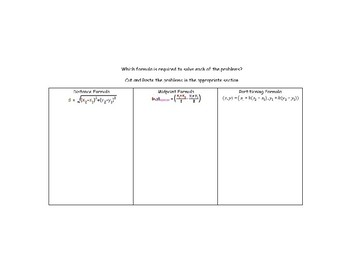 Geometry Formula Cut and Paste Activity