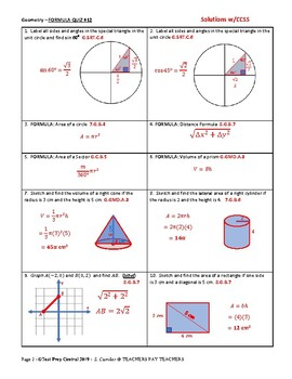 Geometry - Formula Quiz #12