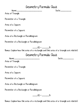 Geometry Formula Quiz