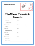 Geometry Formula Quizzes for Final Exam