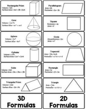 geometry formulas foldable volume surface area circumference graphic organizer. Black Bedroom Furniture Sets. Home Design Ideas