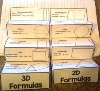 Geometry Formulas Foldable Volume Surface Area Circumference Graphic Organizer