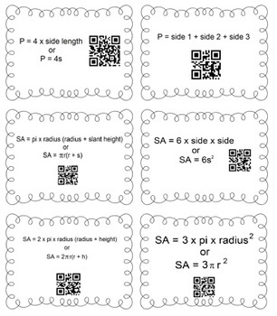 Geometry Formulas Matching Task Cards w/ QR Codes