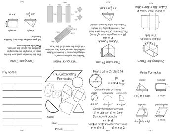 Geometry Formulas Mini Book