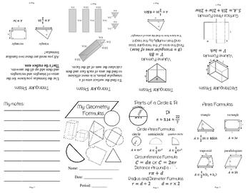 Geometry Formulas Mini Book