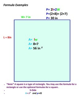 Geometry Formulas Interactive Notebook Pages: Circle and Rectangle