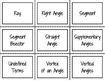 Geometry Foundations Vocabulary 36 Flash Cards