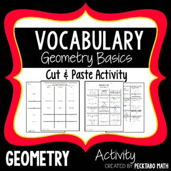 Geometry Foundations Vocabulary Cut and Paste Activity