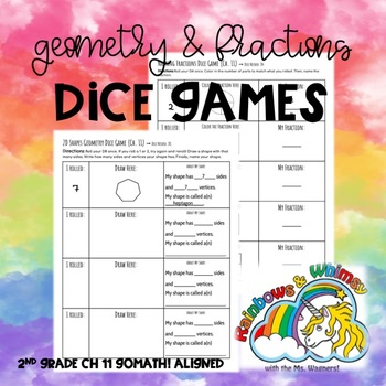 Geometry & Fractions Dice Games - 2nd Grade Ch. 11 Go Math! Aligned