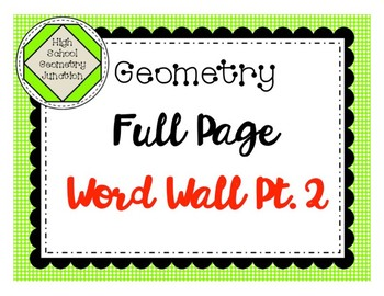 Geometry Full Page Word Wall Part 2