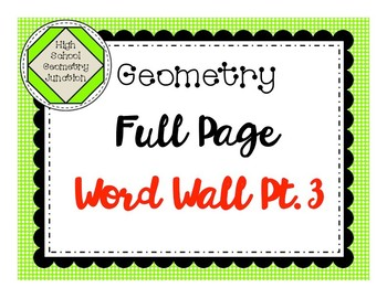 Geometry Full Page Word Wall Part 3