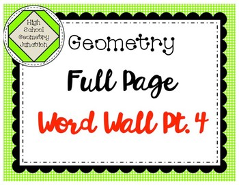 Geometry Full Page Word Wall Part 4