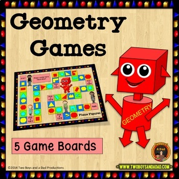 Geometry Games with Quadrilaterals, Plane Figures, Lines, Solids and Triangles