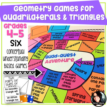 Geometry Games for Classifying Quadrilaterals and Triangles Grades 4-5 6 GAMES!