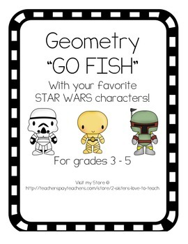 "Geometry ""Go Fish"" - Math Test Prep Center Game - Star Wars Characters"