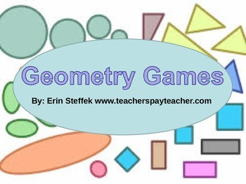 Geometry Games - 10 Printable Geometry Games with Recording Sheets