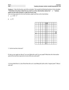 Geometry Graphing Calculator Activity Parallel Lines and Science Application