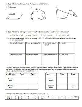 Geometry Group Practice Test: Angle Relationships Fall 2007 (Editable)
