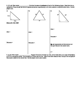 Geometry Group Practice Test Area Geo Prob Vol Surface Area Trig Spring 2014