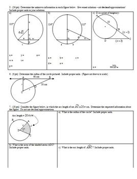 Geometry Group Practice Test Circles Spring 2013 (Editable)