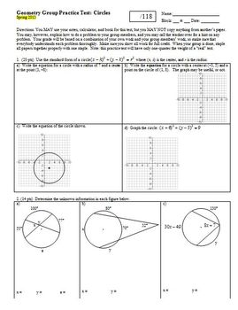 Geometry Group Practice Test Circles Spring 2013