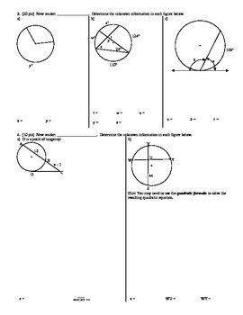 Geometry Group Practice Test Circles Spring 2014 (Editable)