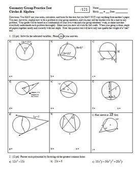 Geometry Group Practice Test: Circles and Algebra (Editable)