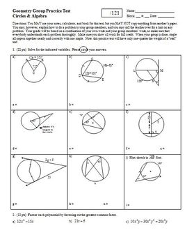 Geometry Group Practice Test: Circles and Algebra