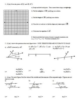 Geometry Group Practice Test: Introduction to Geometry Fall 2011 (Editable)