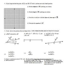 Geometry Group Practice Test Language of Geometry Fall 2011 (Editable)