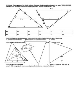 Geometry Group Practice Test Proofs and Concurrency Fall 2013 (Editable)