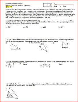 Geometry Group Practice Test Radicals Proportions Similarity Trig Spring 2009