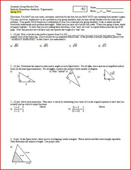 Geometry Group Practice Test Radicals Proportions Similarity Trig Spring 2010