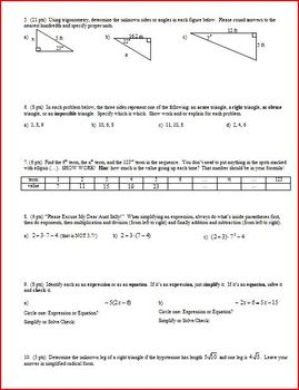 Geometry Group Practice Test Radicals Proportions Similarity Trig Spring 2011