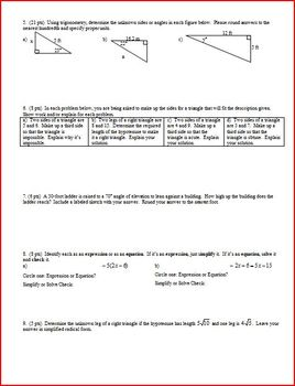 Geometry Group Practice Test Radicals Proportions Similarity Trig Spring 2012