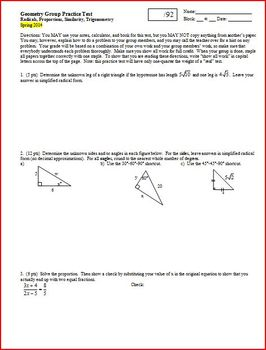 Geometry Group Practice Test Radicals Proportions Similari